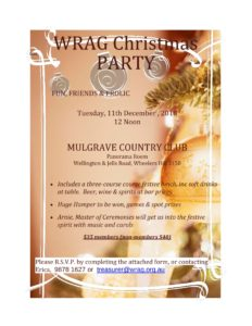 WRAG Christmas Invitation 11 Dec 2018