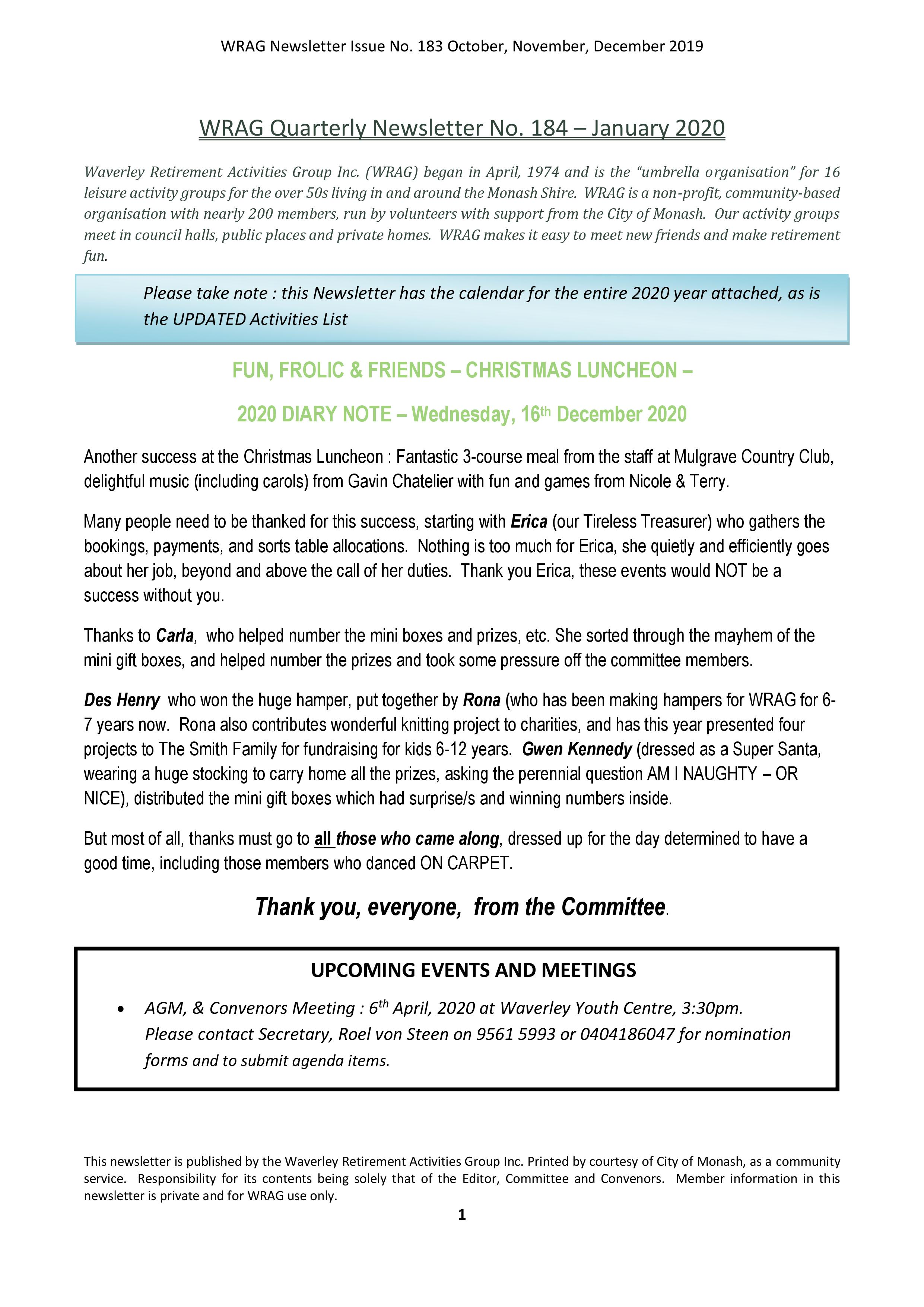 WRAG Newsletter 184 Front Page Jan 2020
