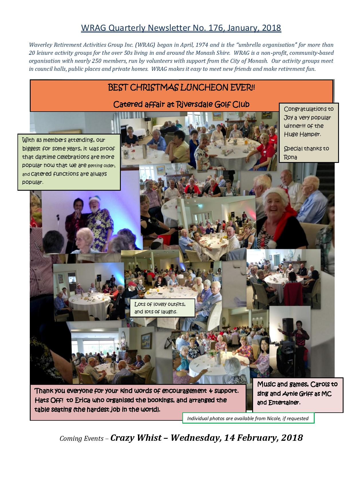WRAG Newsletter No. 176, Front Page January, 2018-page-001