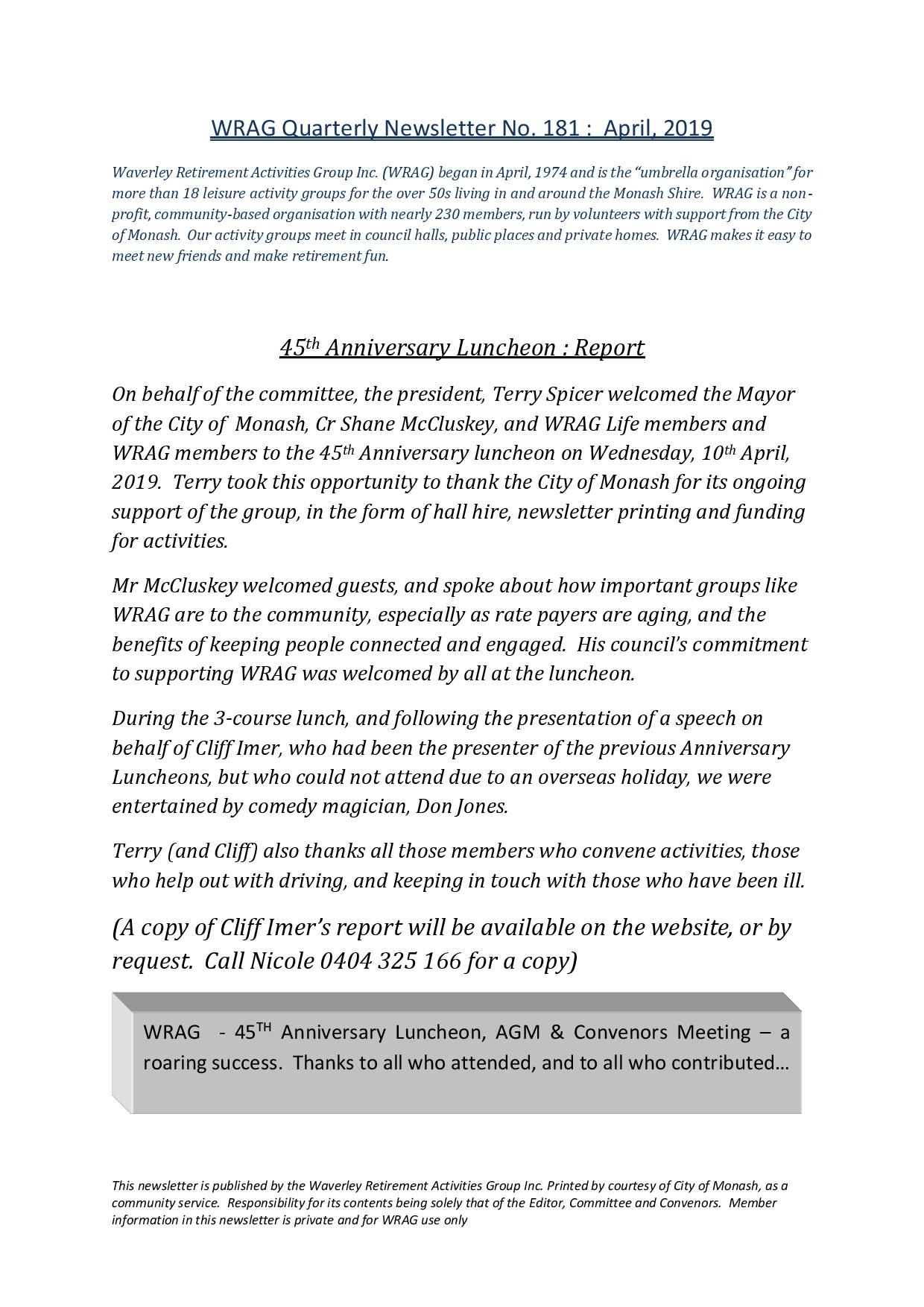 WRAG Newsletter No.181 Front Page, April 2019