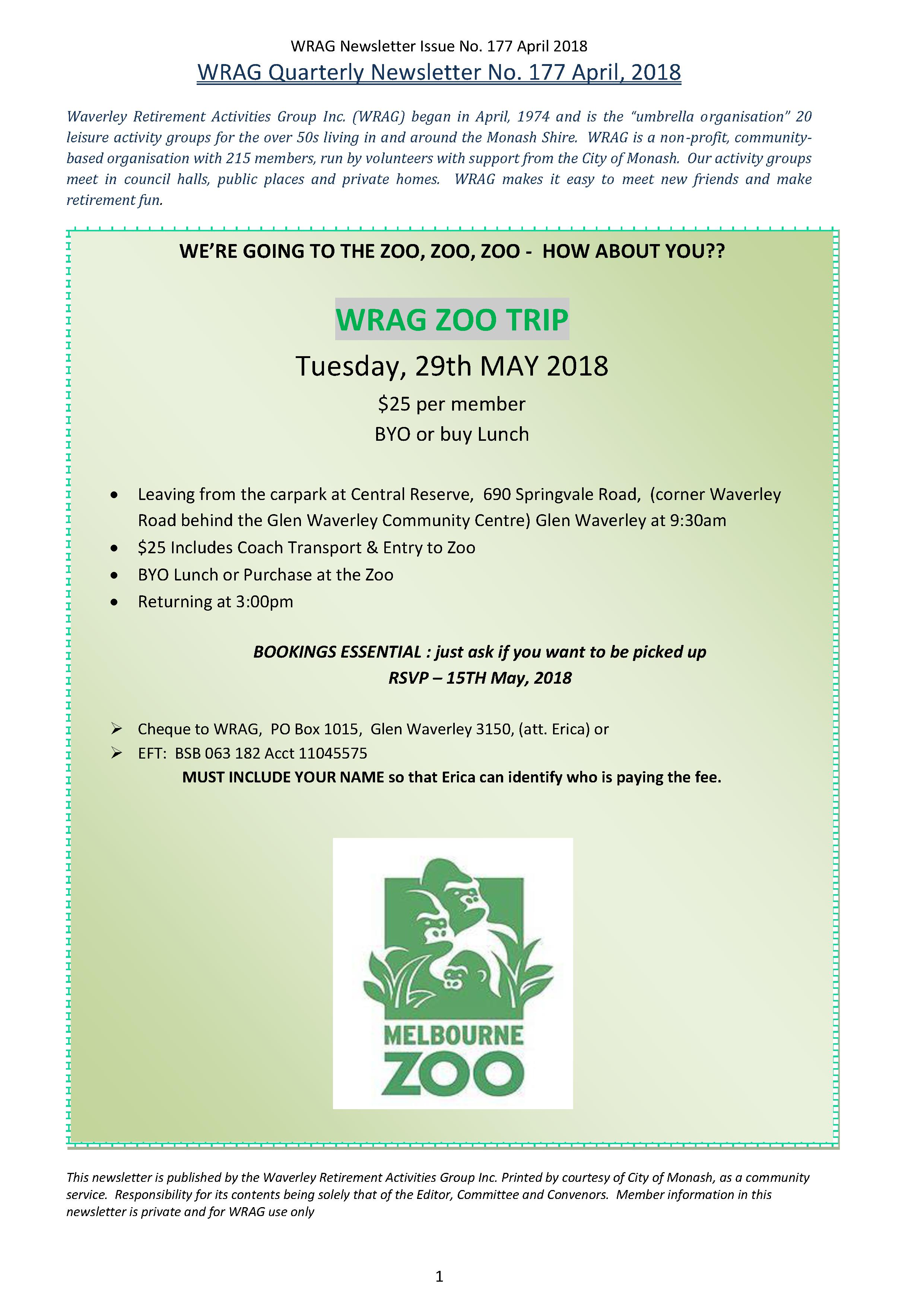 WRAG Newsletter front PAGE 177, April, 2018